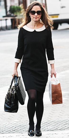 Pippa Middleton's Style  December 13, 2011  Kate Middleton's stylish sister went shopping in London in a black and white Suzannah dress.