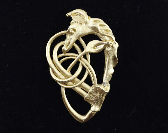 Vintage signed brooch, costume jewelry brooch, Nordic serpent, Viking dragon, zoomorphic celtic knot