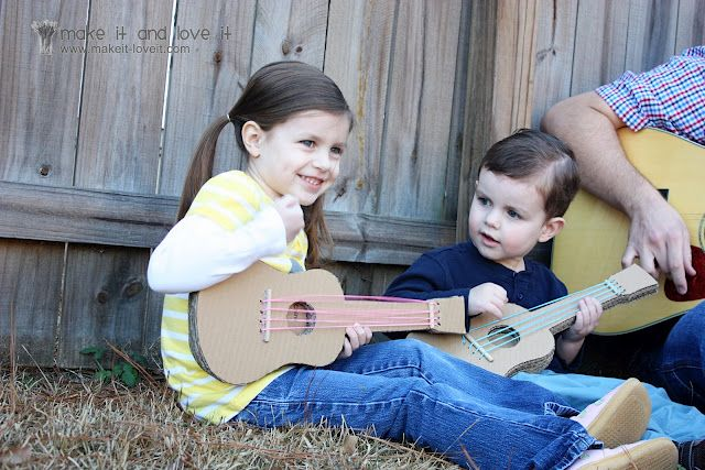 Deluxe DIY cardboard guitars that last longer than one day! This is one of the best DIYs I've ever seen for kids. Full, detailed tutorial. From the amazing site Make it and Love it (makeit-loveit.com)