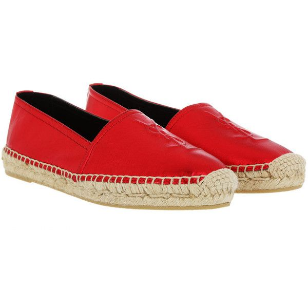 Saint Laurent Espadrilles - YSL Monogramme Espadrilles Leather Rosso -... ($490) ❤ liked on Polyvore featuring shoes, red, metallic flat shoes, leather espadrilles, metallic espadrilles, red flat shoes and yves saint laurent shoes