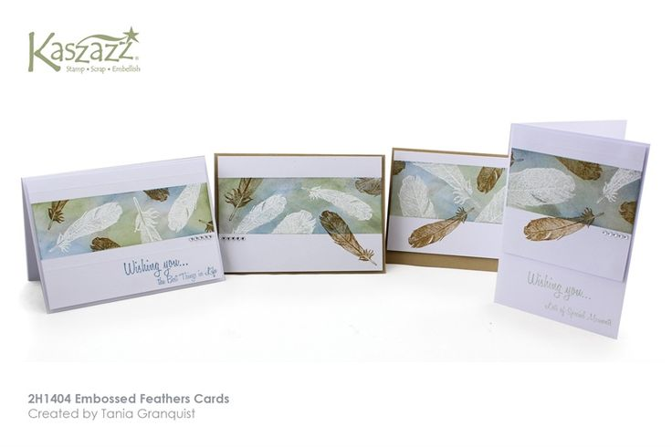 2H1404 Embossed Feathers Cards