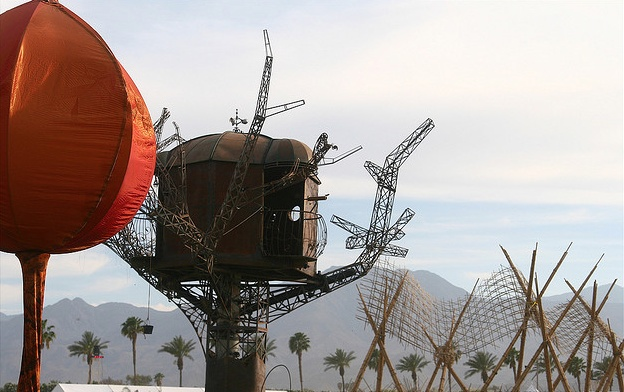 "The Do LaB's ""Lumi"", SteamPunk Treehouse then Gerard's Bamboo Waves"" - Quite the defining skyline for Coachella 2008"
