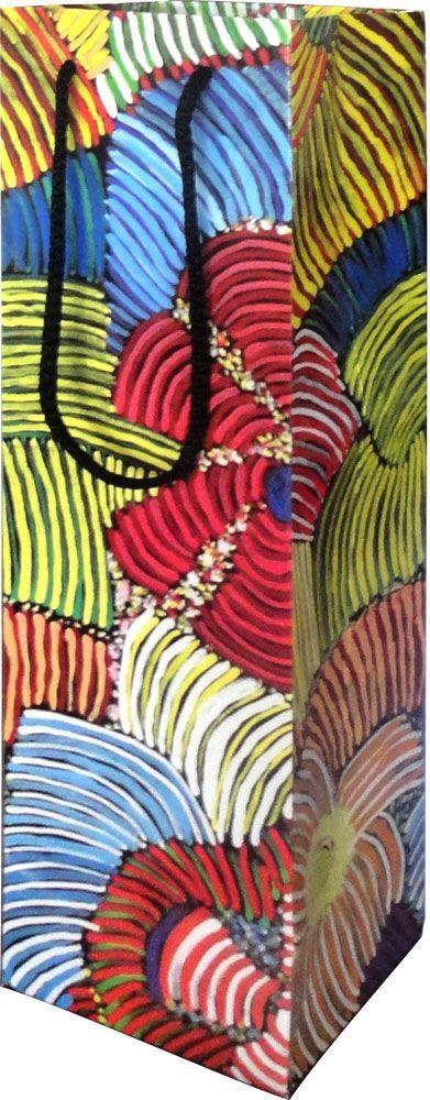 Utopia design Giftbag (small) design: Pencil Yam Artist: Josie Kunoth Petyarre size: 11cm x 36cm x 10cm $4.50 each