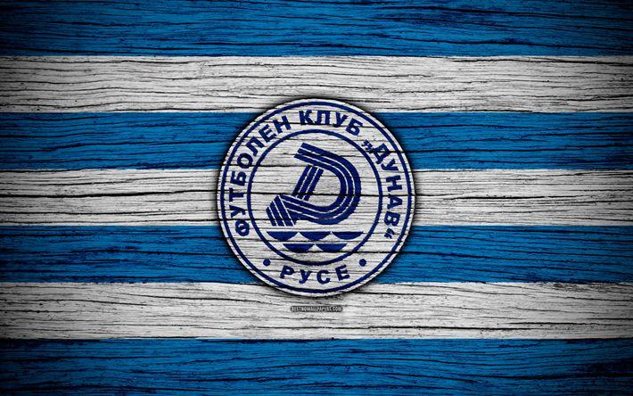 Download wallpapers Dunav Ruse FC, 4k, Parva Liga, soccer, football, Bulgaria, Dunav Ruse, logo, wooden texture, football club, FC Dunav Ruse