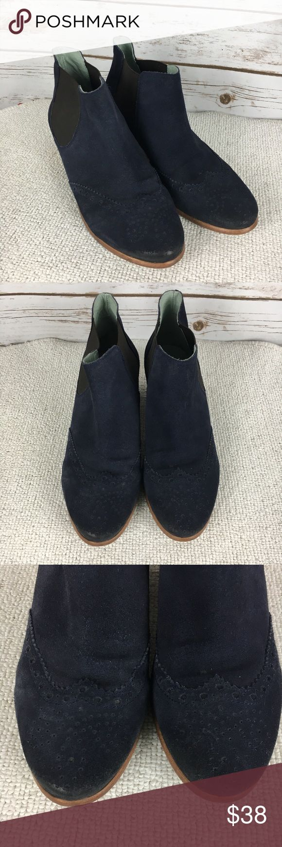 Boden Blue Suede Boots Sz 41 10-10.5 Ankle Booties Womens Boden Blue Suede Boots Sz 41 10-10.5 Ankle Booties Leather Boden Shoes Ankle Boots & Booties