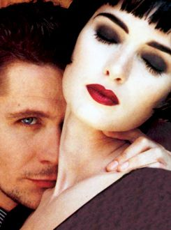 Gary Oldman and Winona Ryder posing for a photoshoot for the cover of Premiere magazine, to promote Dracula, December 1992.