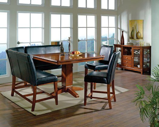 Steve Silver Furniture Plato 6 Piece Sectional Counter Height Dining Table Set In Multi Step Dark Oak