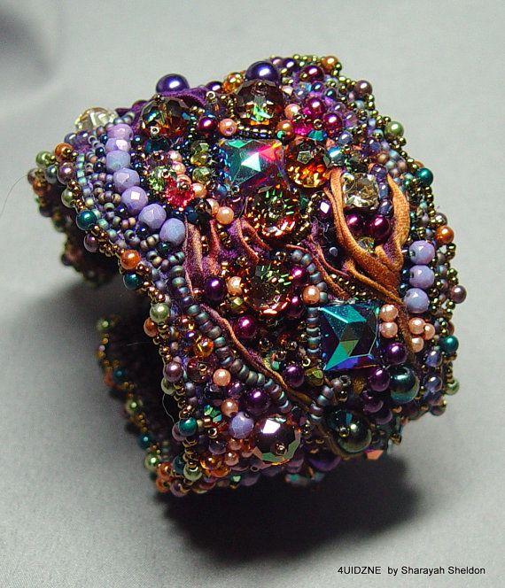 SHEER DECADENT SHIBORI  Bead Embroidered Bracelet/Cuff by 4uidzne, $300.00