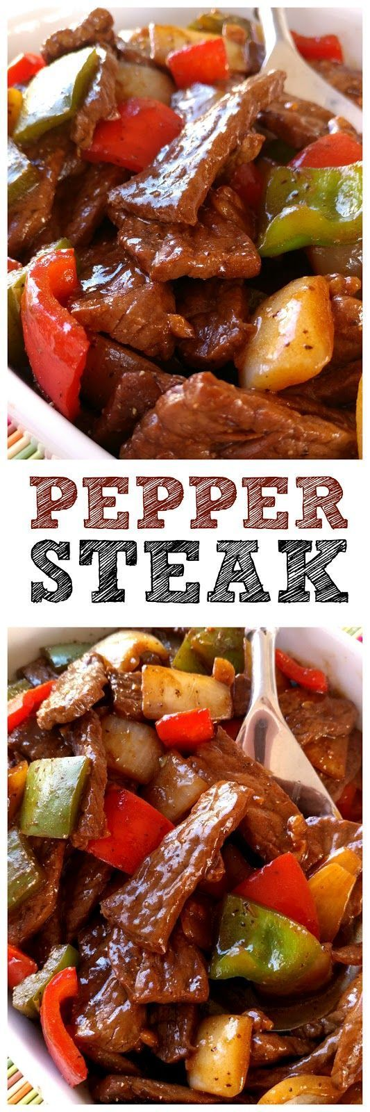 Ingredients:     Pepper Steak:   1.5 lbs. sirloin or bottom round steak   3 tablespoons soy sauce   1 teaspoon black pepper   Vegetable...