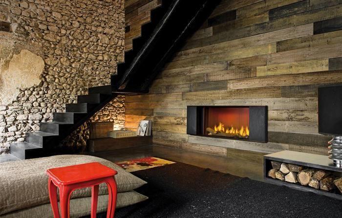 Klee, rivestimento per caminetto a legna frontale realizzato in ardesia e acciaio verniciato effetto ruggine (cod: CM0005)