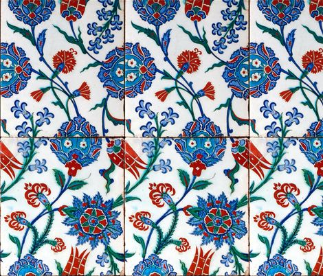 16th Century Turkish Damask Tile ~ Bright Original  fabric by peacoquettedesigns on Spoonflower - custom fabric