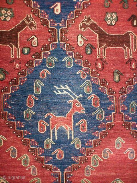 afshar sumak animals 142x218 cm osturi weaving kerman province