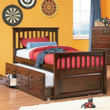 Atlantic Mate S Bed With Three Drawer Trundle In Antique Walnut Full Size Beds