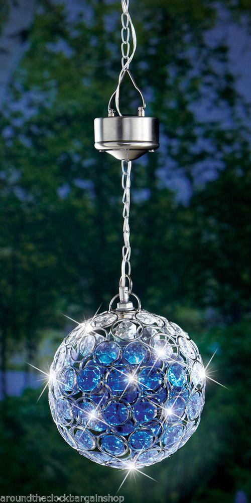 Outdoor Solar Hanging Pendant Ball W Blue LED Light #WMG