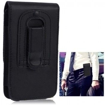 Black Leather Case with Clip for iPhone 5