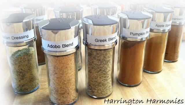 Spice Mixes: Taco, Fajita, Pizza, Spaghetti, Italian Herb, Italian Dressing, Greek, Adobo, Apple Pie, Pumpkin Pie, Dry Fruit