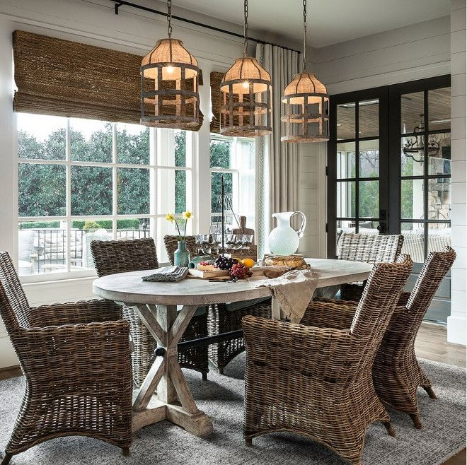 Rattan Dining Chair And Woven Roman Shades. Rustic Farmhouse Dining Room  Withu2026