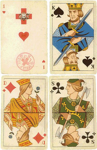 Latvian playing cards designed by Arturs Dubrus in 1942.