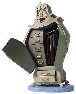WDCC Disney Classics Beauty And The Beast Wardrobe #WDCCDisneyClassics #Art. The Wardrobe is made of resin and comes with a glass gemstone, two (2) pullout drawers, doors that open and close and removable dresses.