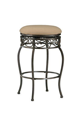 Hillsdale Lincoln 26 Inch Backless Swivel Counter Stool Black Gold