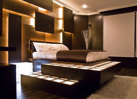 Unique Bed Shaped with Wall Lamps in Modern Bedroom Design Ideas - Home Interior Decorating Ideas