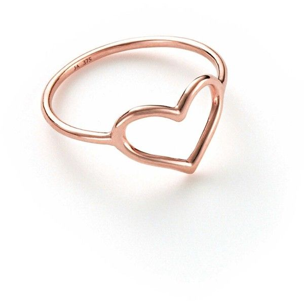 Jordan Askill Heart Ring - Rose Gold ($245) ❤ liked on Polyvore featuring jewelry, rings, rose, thin rings, red gold ring, open heart ring, thin gold band ring and rose jewelry