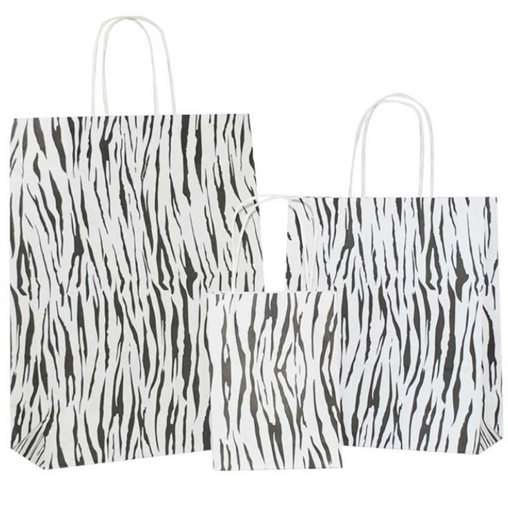 Recyled Black Zebra on White Carrier Bag with Twisted Handle – Pico Bags