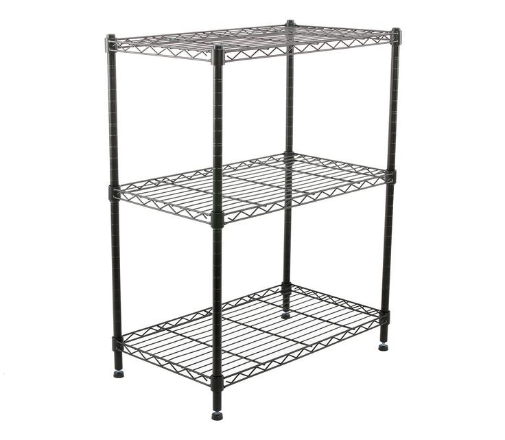 Finnhomy Supreme Steel Wire Shelving Unit with Stable Leveling Feet, 3 Shelves Wire Rack Shelving, Thicken Steel Tube Black