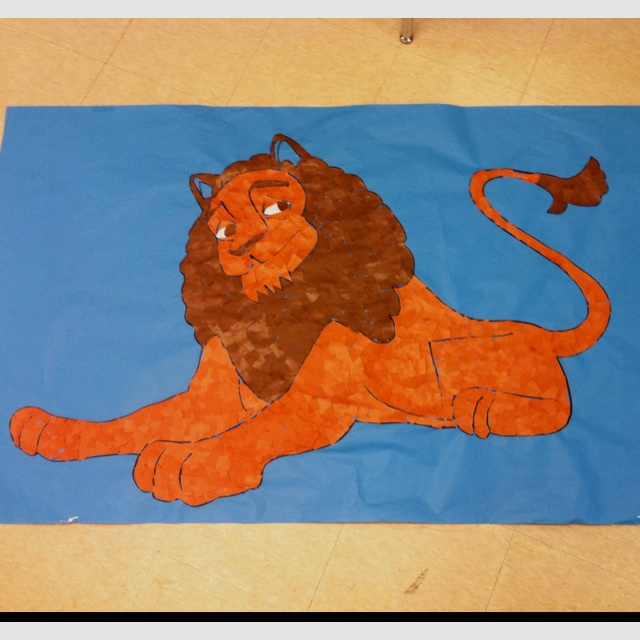 Another pinner said: No link...but just thought I would share some of our VBS decor. We are doing Babylon: Daniel's Courage In Captivity. Make giant mosaics with banner paper, Projector (or freehand), and sharpie. Trace, outline, and glue the tiny pieces onto you paper! Easy! :))