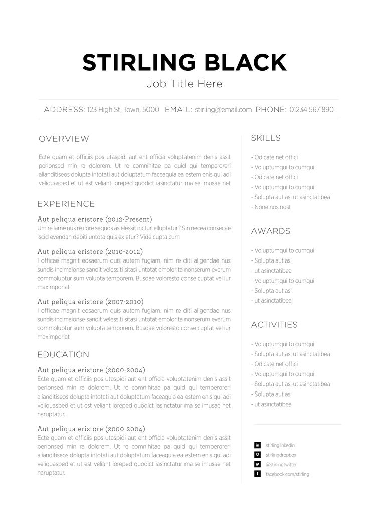 Resume templates functional