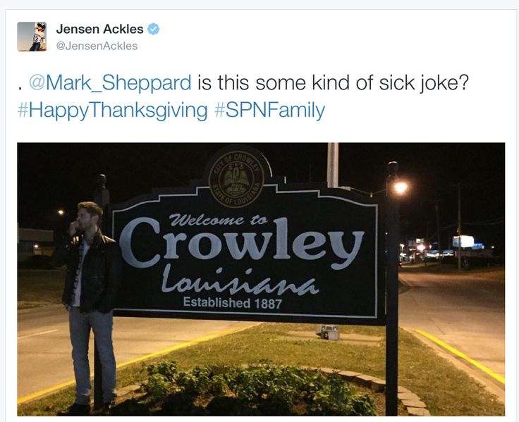 Jensen's tweet to Mark 11/25/14 omg I can't believe Jensen was in Louisiana and on the streets not just in a limo