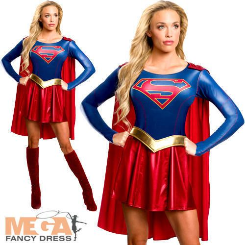 Supergirl Ladies Fancy Dress Superhero Womens Adults Super Girl Costume Outfit #Rubies #CompleteOutfit