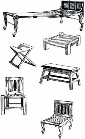 Some of examples of what furniture would look like in early Egyptian culture. The folding chair in this picture would be a status symbol.  It was used by generals in the army.