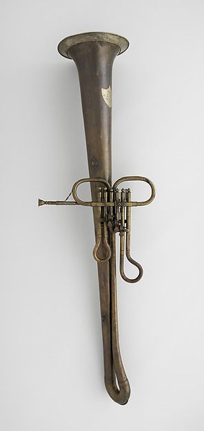 Contrabass Valve Ophicleide in D by Leopold Uhlmann, ca. 1840. On exhibit in the Fanfare Display at The Met.
