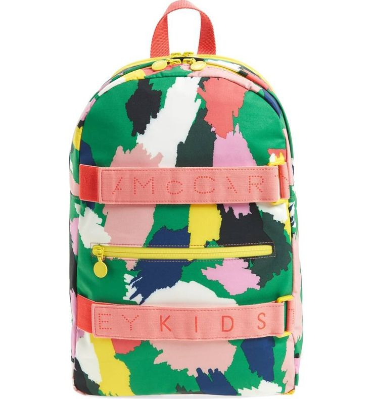 An artsy print pops on an irresistible backpack completed with logo-stamped front straps.