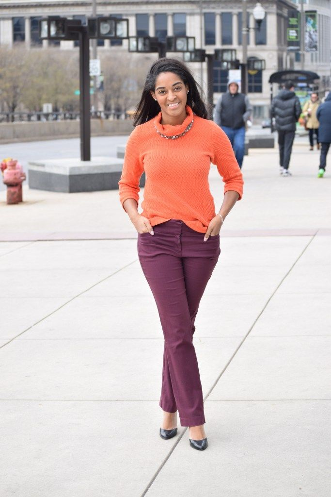 bold color combo, plum pants, orange sweater, best chicago style blogs, best style, chicago style, bold style, work, office style, trendy office style
