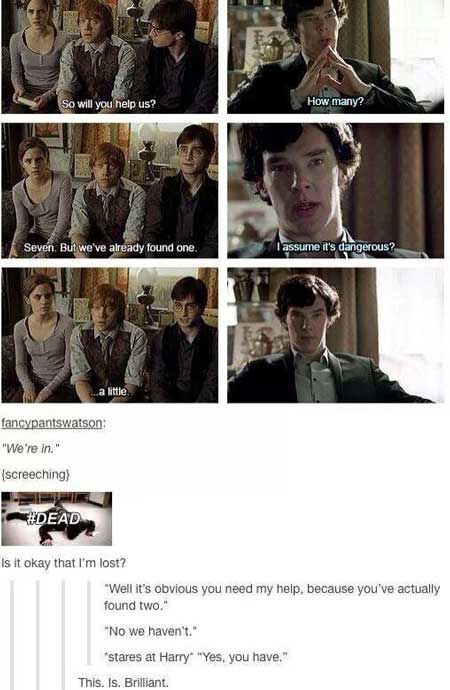 harry potter and sherlock- horcruxes, help, dangerous, funny, meme,geek,detective,meme, photos, pictures, tumblr, smosh,fandoms, picture, classic, great, curtain, house, violin, sherlocked, watson, benedict cumberbatch, suit, lamp, girl, kid, teeenager, mistery, clue, difficult, riddle, amusing, interior, vintage, holmes, bromance, books, movies, series, mashup, awesome, ⚡, crossover, fandom, obsesion, too good not to pin, fangirl, fanboy, potterhead, love, lol, lmao, THANK YOU FOR ALL THE…