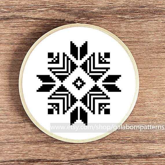 PDF counted cross stitch pattern - Instant download - Tribal - Ethnic - Monochrome