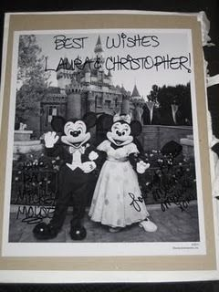 Did you know that if you send Mickey and Minnie Mouse an invitation to your wedding they'll send you back an autographed photo and a 'Just Married' button? Also, if you send Cinderella and Prince Charming an invitation, you'll get an autographed congratulatory certificate. Here are the addresses: Micky