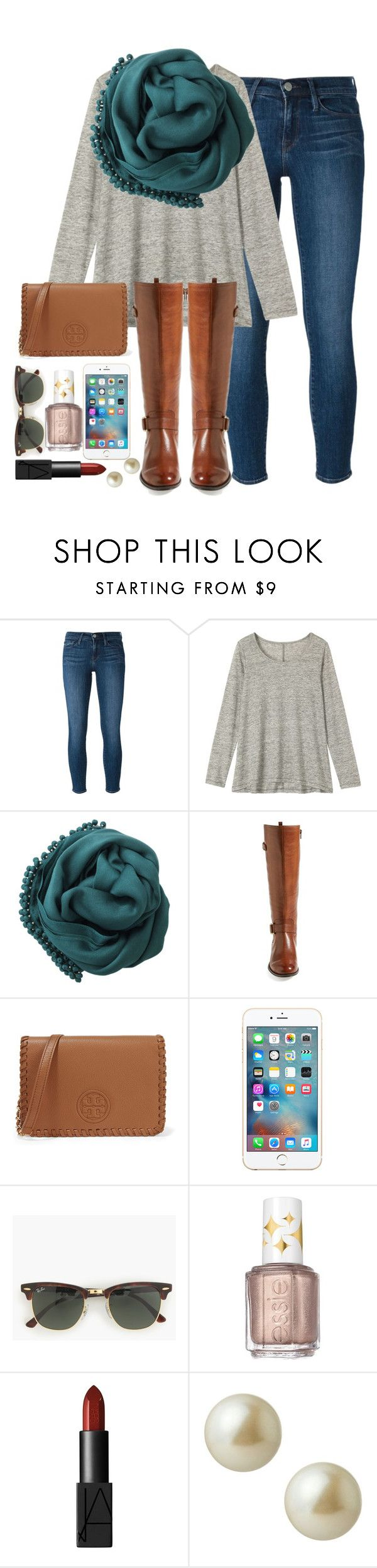 """""""idek"""" by elizabethannee ❤ liked on Polyvore featuring Frame Denim, Toast, Bajra, Naturalizer, Tory Burch, J.Crew, Essie, NARS Cosmetics and Carolee"""
