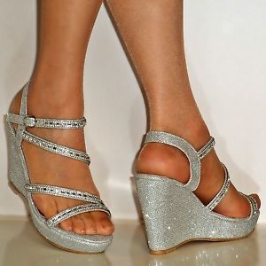navy and silver wedges for bridesmaids - Google Search                                                                                                                                                                                 More