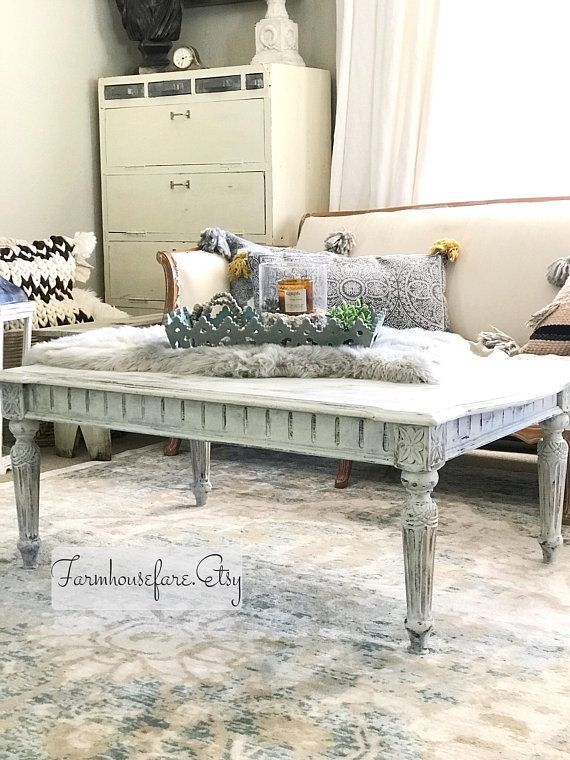 White Distressed Coffee Table Living Room Table Shabby Chic White Painted Furniture Furniture Chic Home Decor