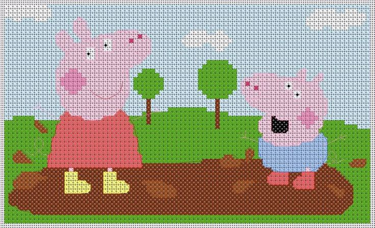Peppa and George Pig Cross Stitch photo: Cross stitch, for more designs www.christian-cross-stitch.co.uk This photo was uploaded by biblestitcher