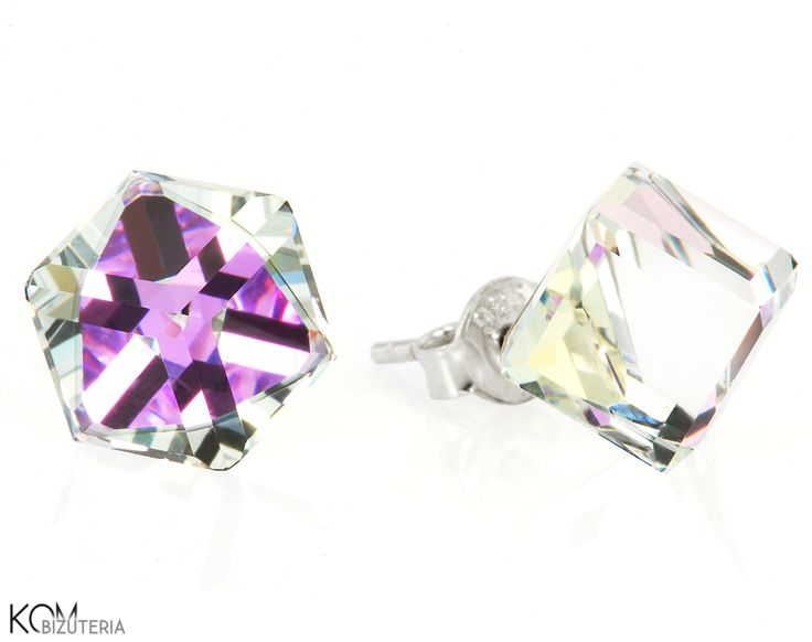 Big cubes - crystal, light violet and green - silver stud earrings with Swarovski® crystals. Beautiful silver stud earrings with big Swarovski® crystal cubes shining between crystal, light violet and green colors.