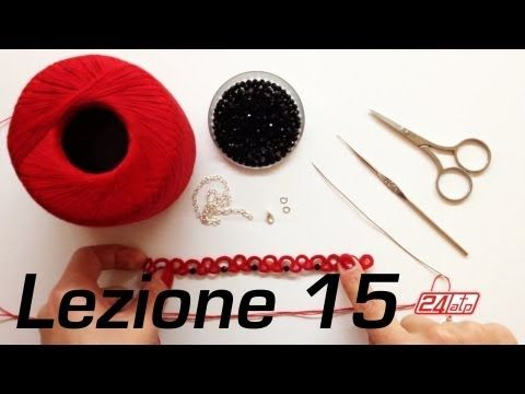 ▶ Chiacchierino Ad Ago - 15˚ Lezione Braccialetto Bracciale Con Perline Bijoux Tutorial Needle Tatting - YouTube