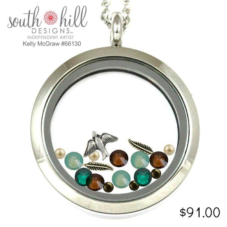 Relax, wearing soothing colors can help you unwind! South Hill Designs by Kelly McGraw Large silver locket Vintage sparrow charm, and feather charms Accents - Swarvoski pacific opal crystals, smoked topaz crystals, vintage gold pearls and hazelnut pearls Birthstone - Swarvoski - May birthstone