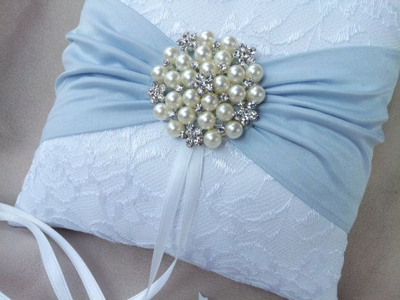White Ring Bearer Pillow Lace Light Blue Pearl Rhinestone Accent
