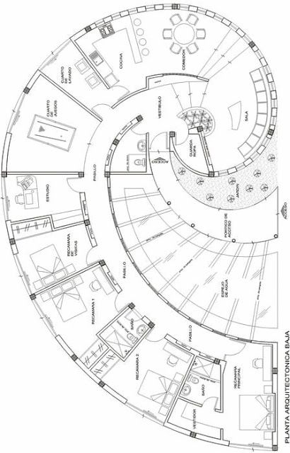 Snail house plan, it's in Spanish but you can figure it out even if you can't translate. love the design not sure about outside appearance of house.