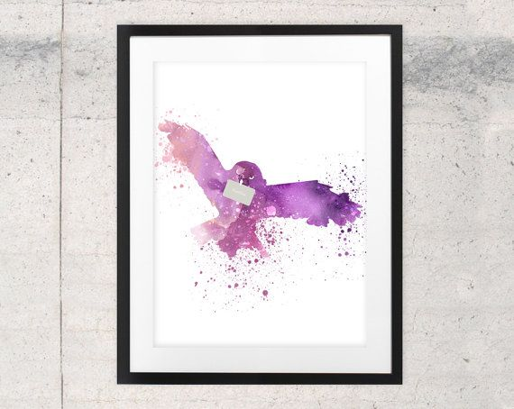 Hedwig Harry Potter art print watercolor owl by WhiteDoePrints