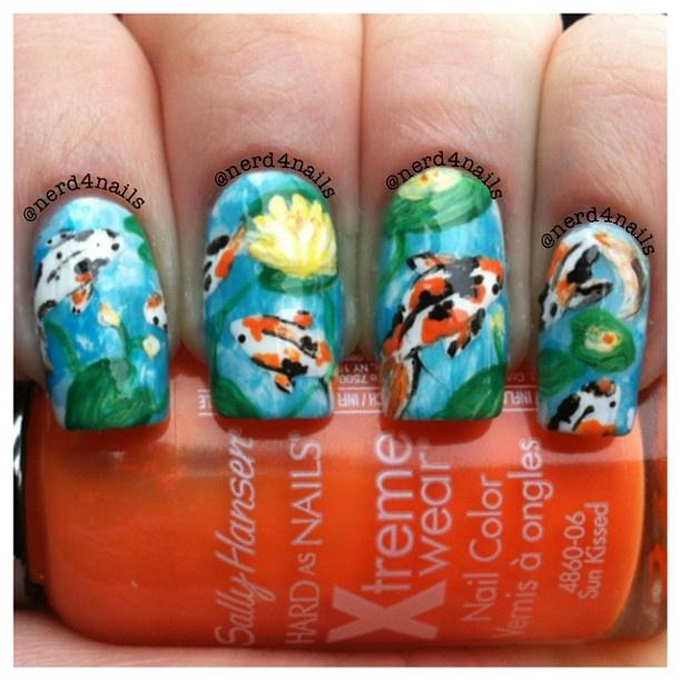 Nerd4nails Koi Fish Nail Nails Nailart Art Polishes Pinterest And Fun